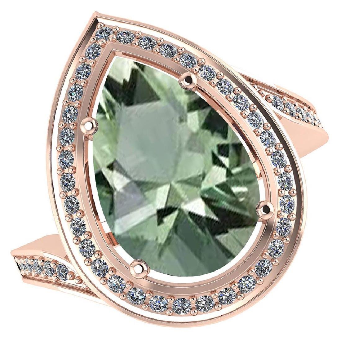 Certified 2.30 CTW Genuine Green Amethyst And Diamond 1