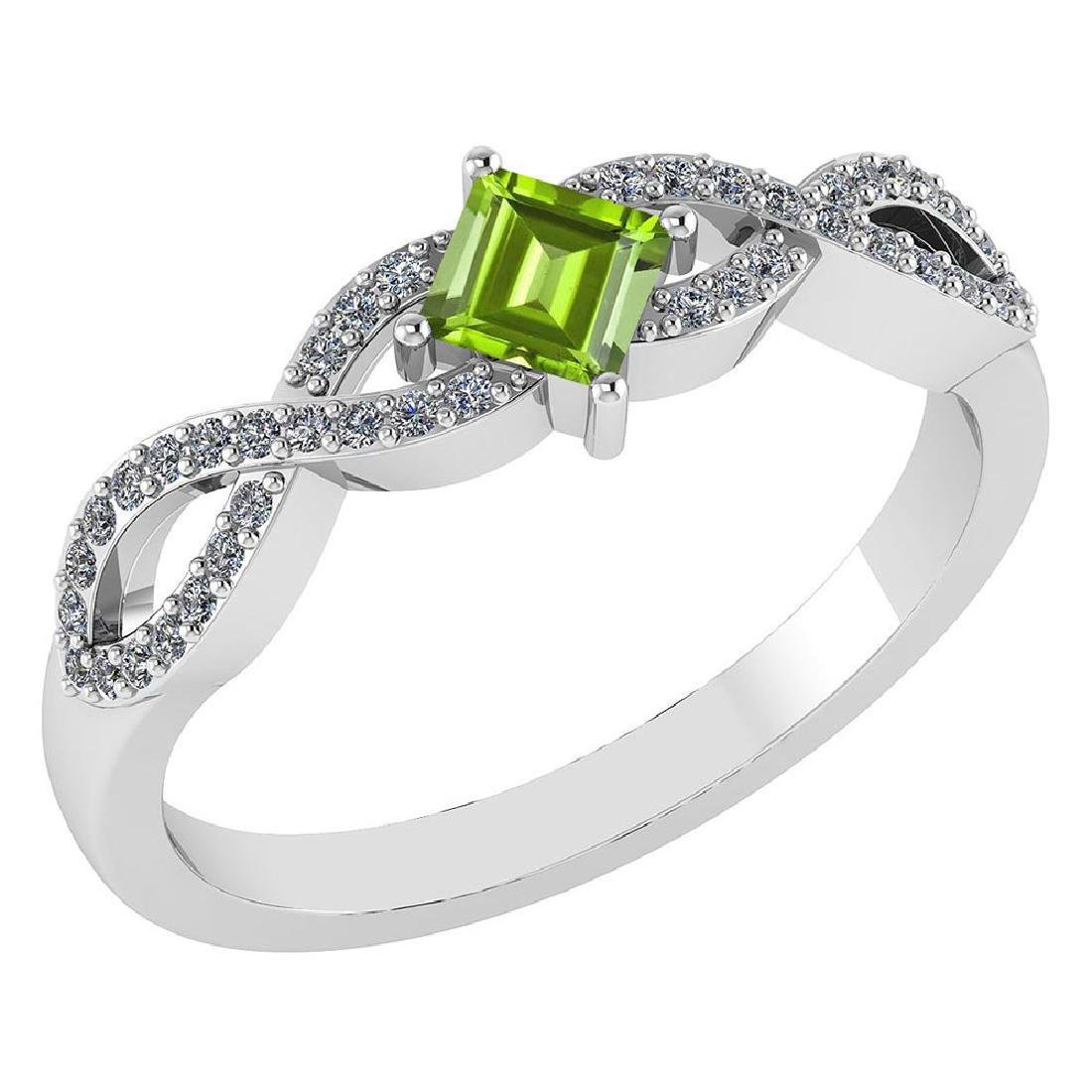 Certified .60 Ctw Genuine Green Amethyst And Diamond 14