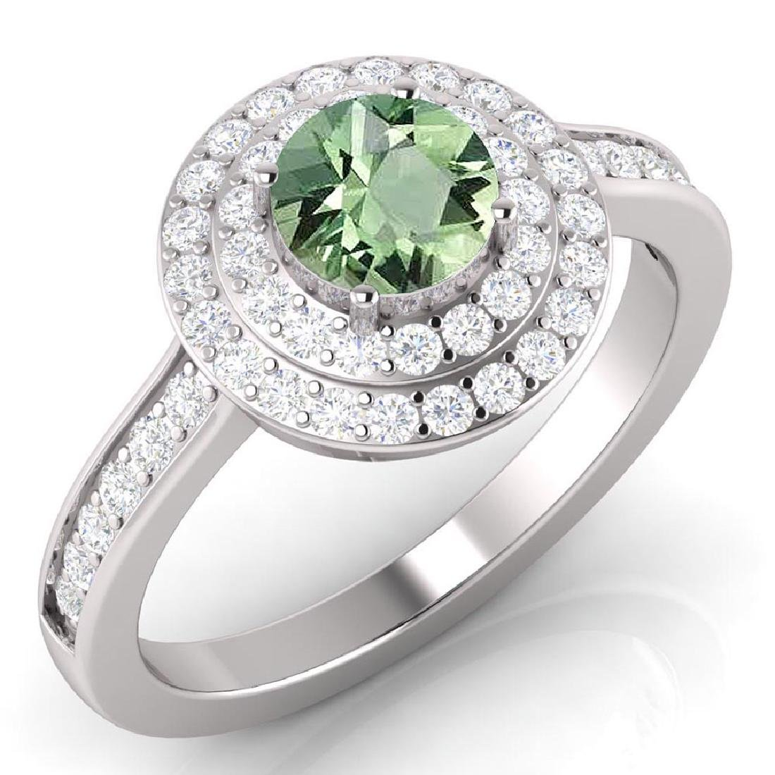 Certified 1.65 CTW Genuine Green Amethyst And Diamond 1