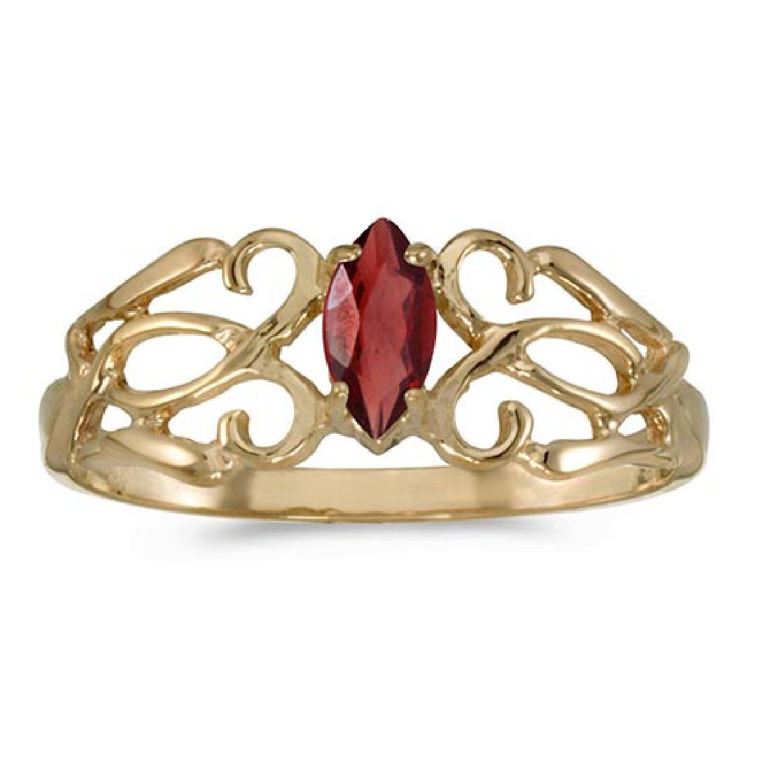 Certified 10k Yellow Gold Marquise Garnet Filagree Ring