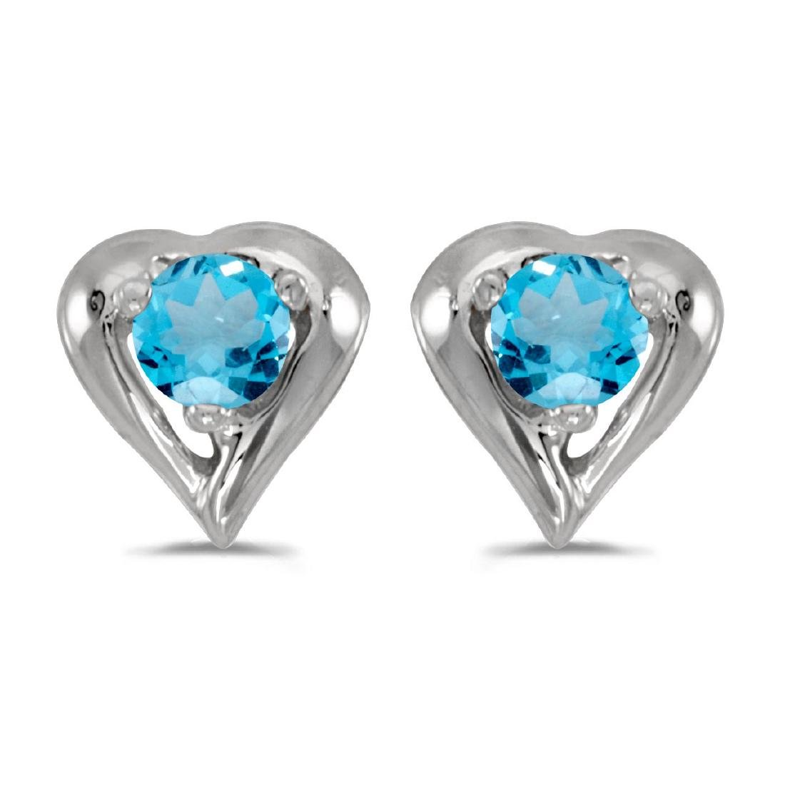 Certified 14k White Gold Round Blue Topaz Heart Earring