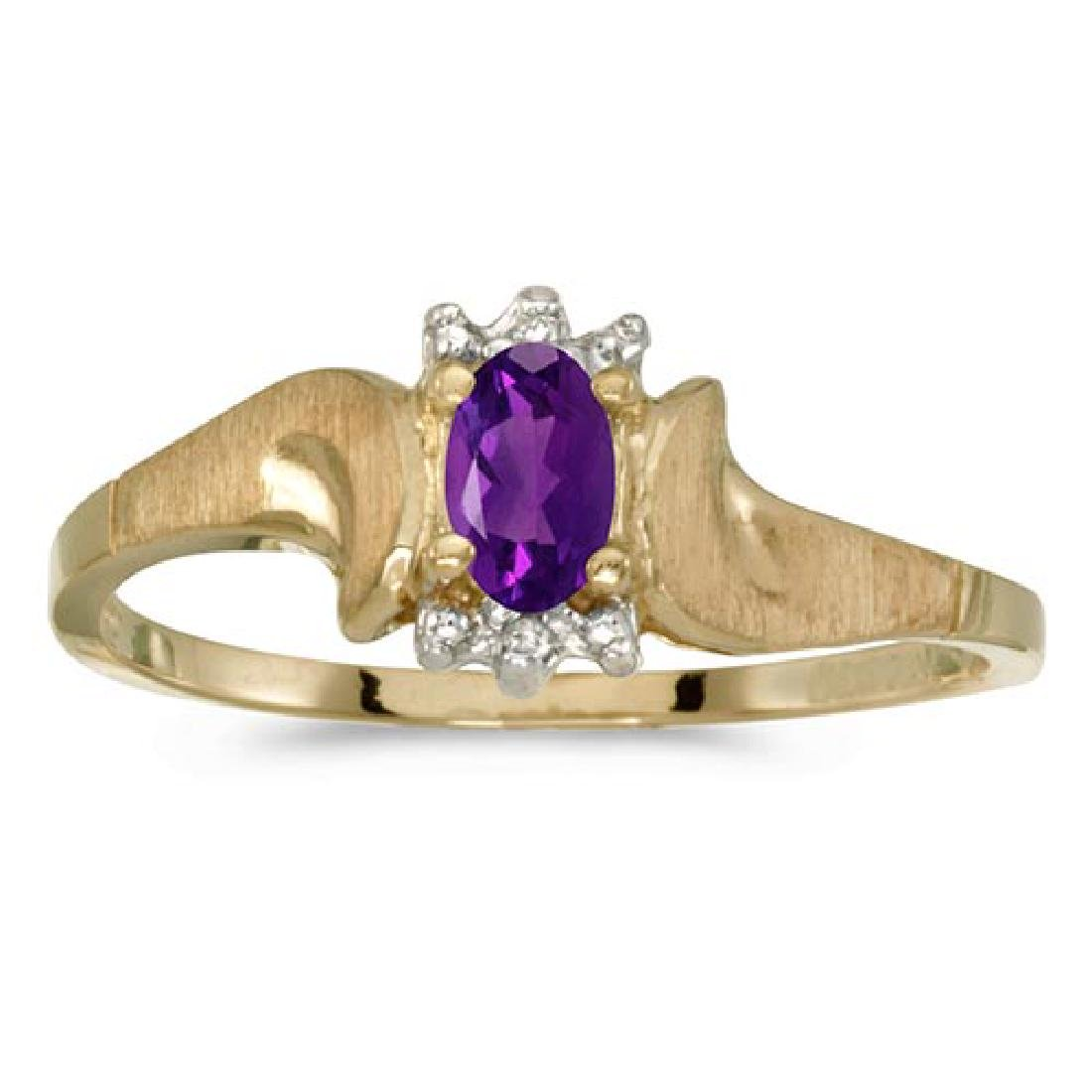 Certified 14k Yellow Gold Oval Amethyst And Diamond Sat