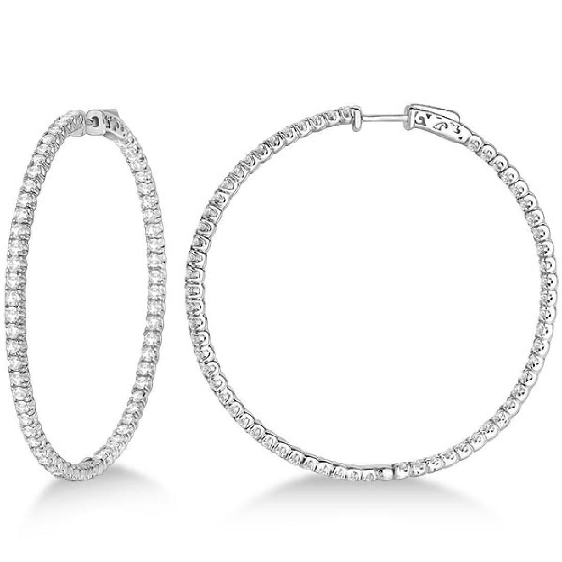 X-Large Round Diamond Hoop Earrings 14k White Gold (5.1