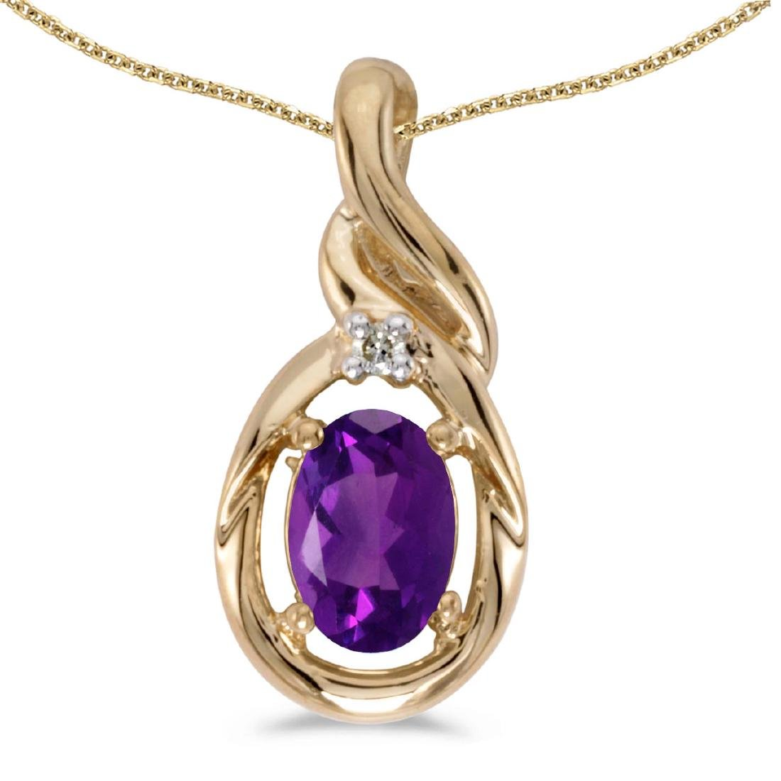 Certified 14k Yellow Gold Oval Amethyst And Diamond Pen