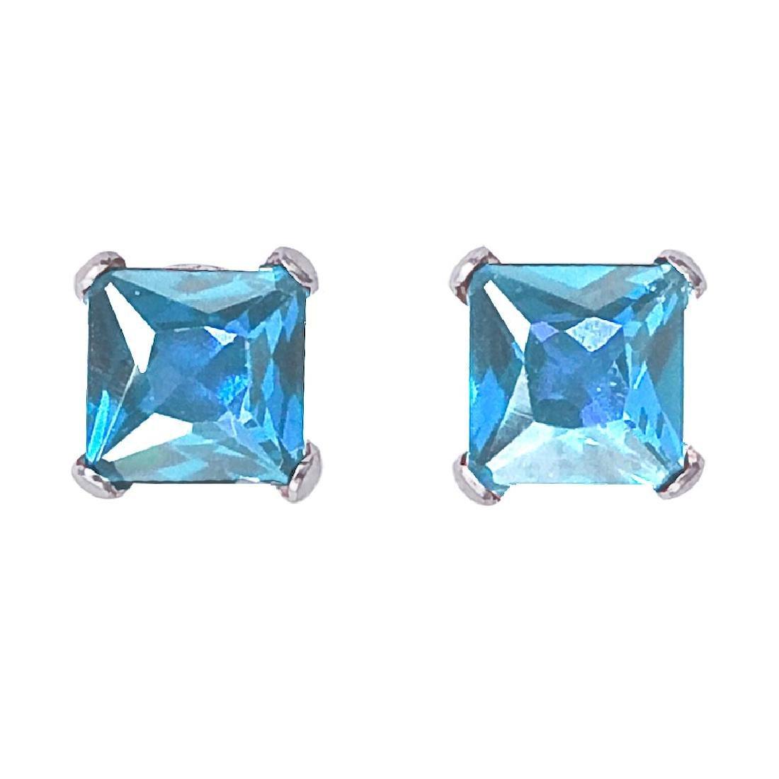 Certified 14k White Gold Square Blue Topaz Stud Earring