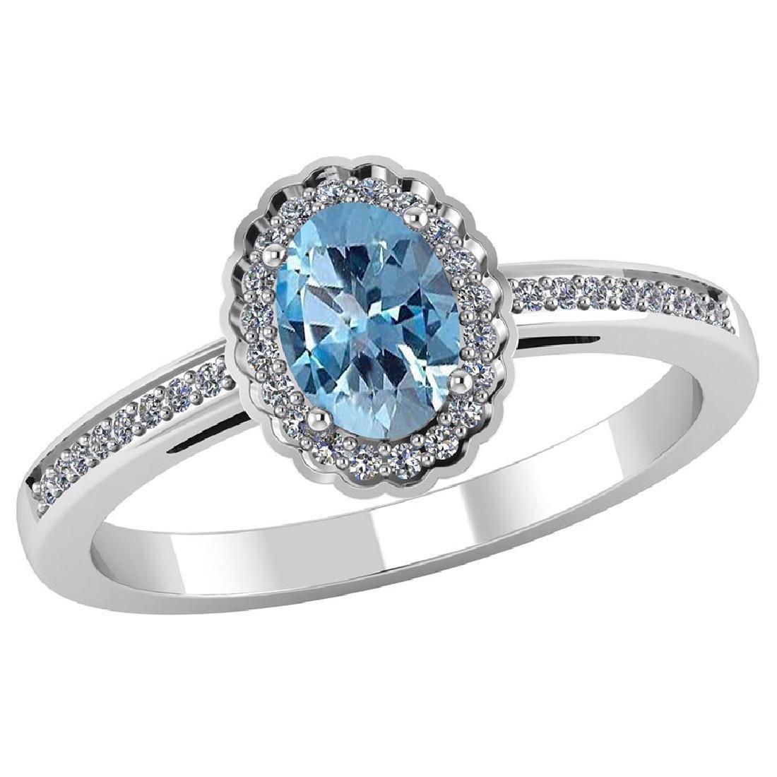 Certified 1.50 CTW Genuine Aquamarine And Diamond 14K W