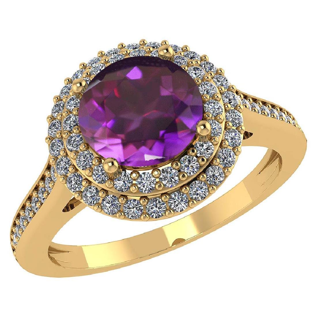 Certified 2.32 CTW Genuine Amethyst And Diamond 14K Yel