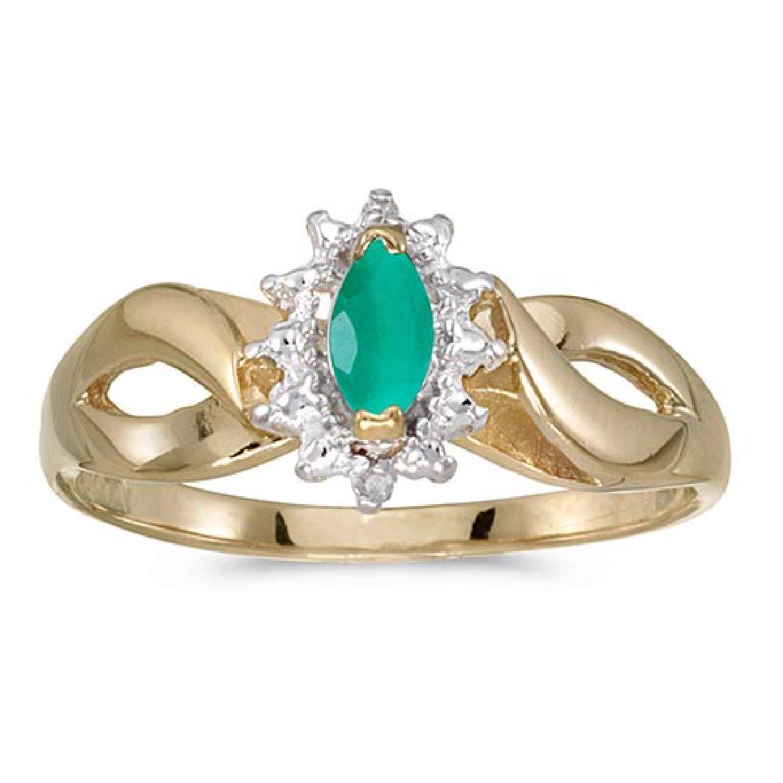 Certified 10k Yellow Gold Marquise Emerald And Diamond