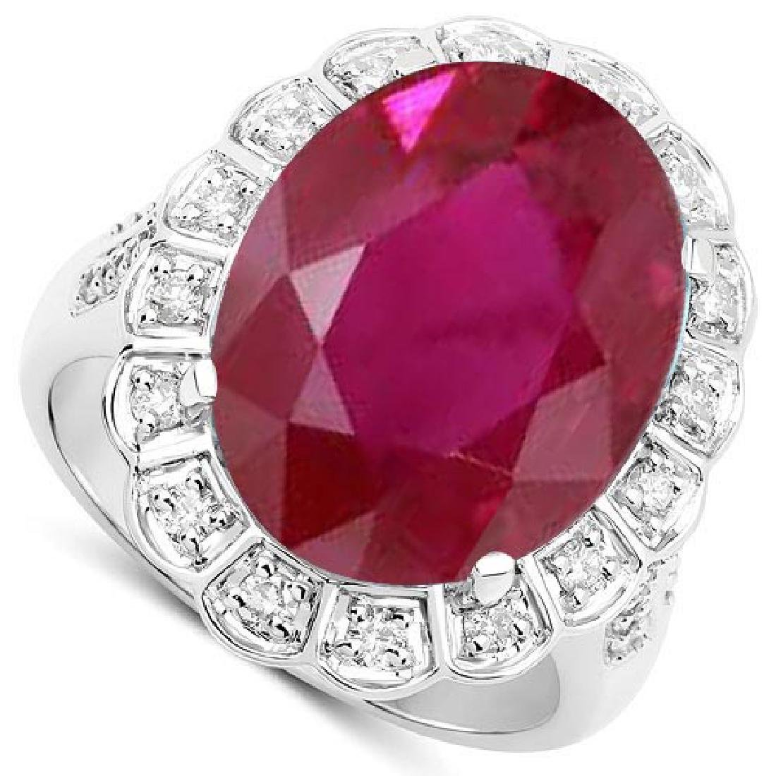 Certified 2.60 Ctw. Genuine Ruby And Diamond 14K White