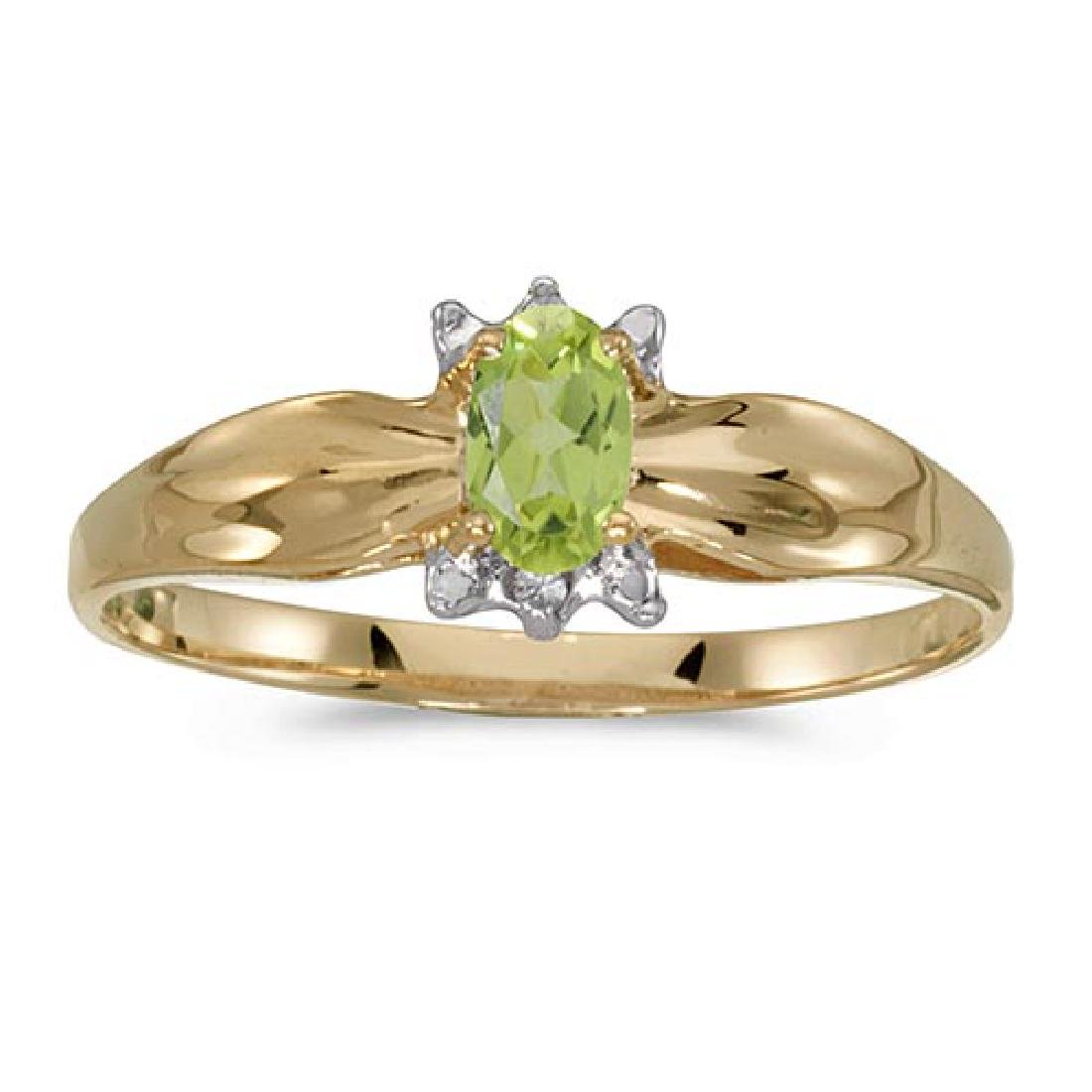 Certified 14k Yellow Gold Oval Peridot And Diamond Ring