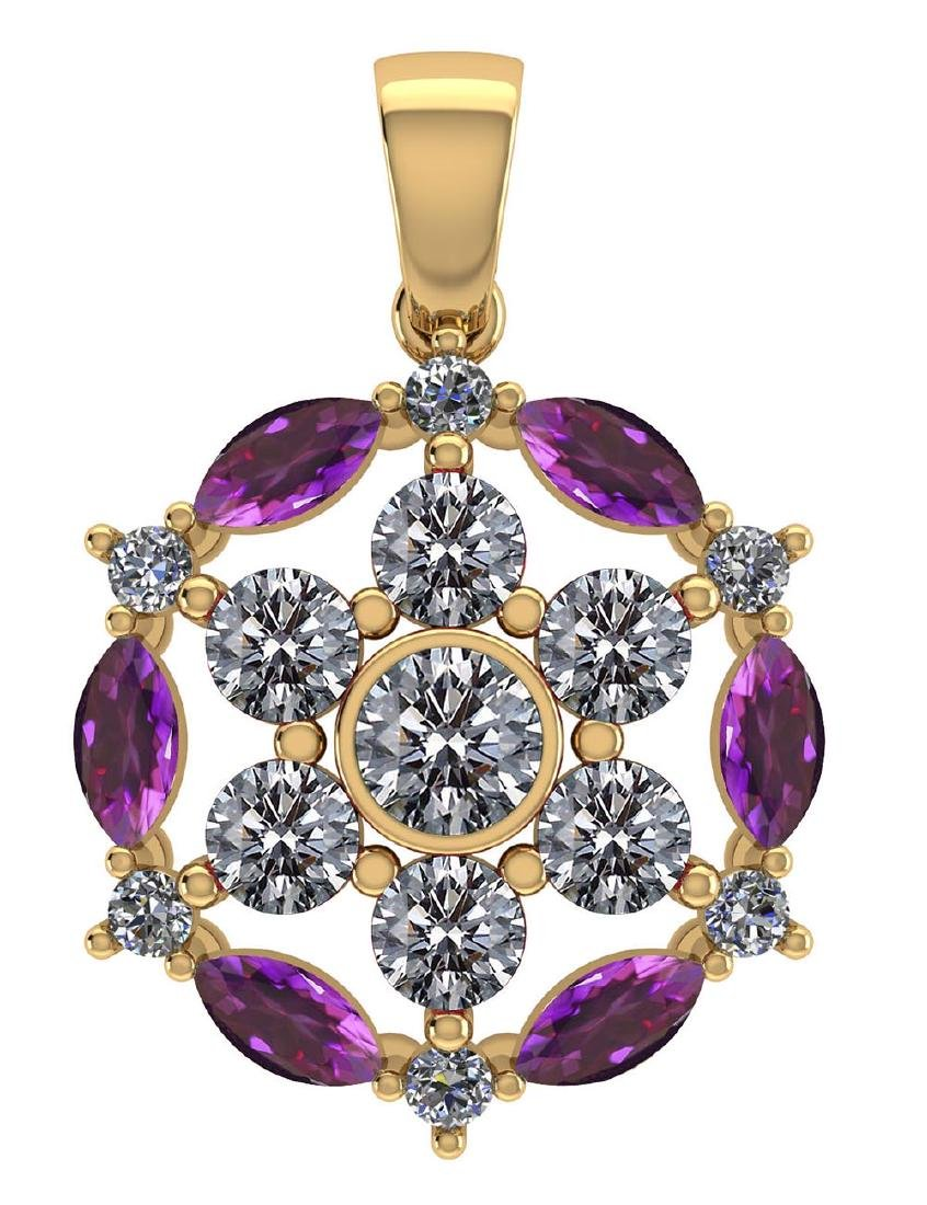 Certified 1.30 CTW Genuine Amethyst And Diamond 14K Yel
