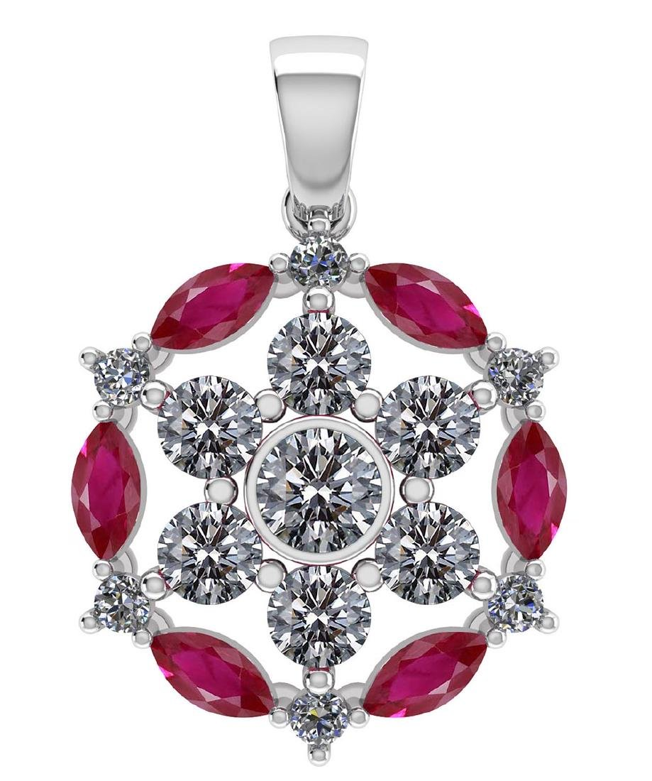 Certified 1.30 CTW Genuine Ruby And Diamond 14K White G