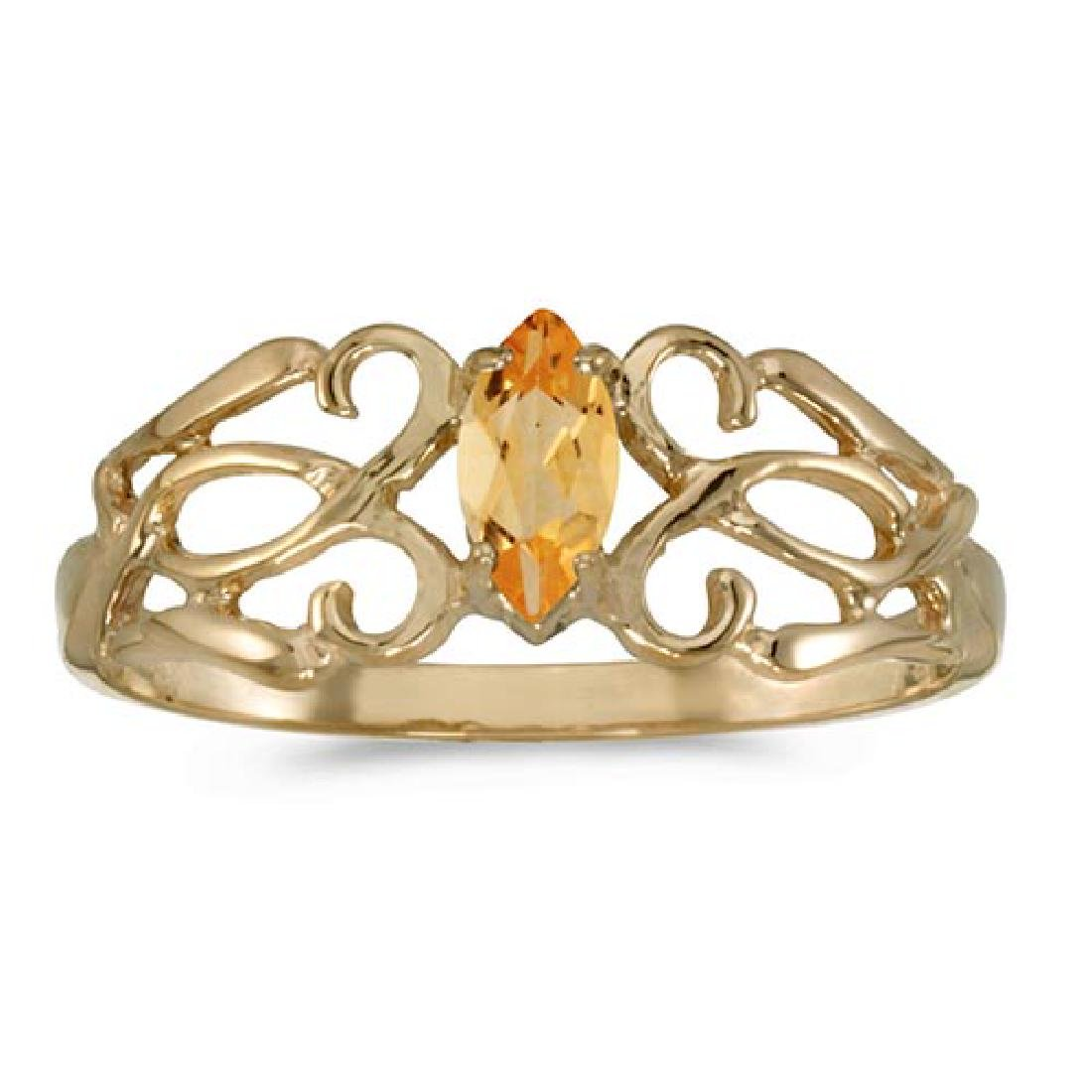 Certified 10k Yellow Gold Marquise Citrine Filagree Rin