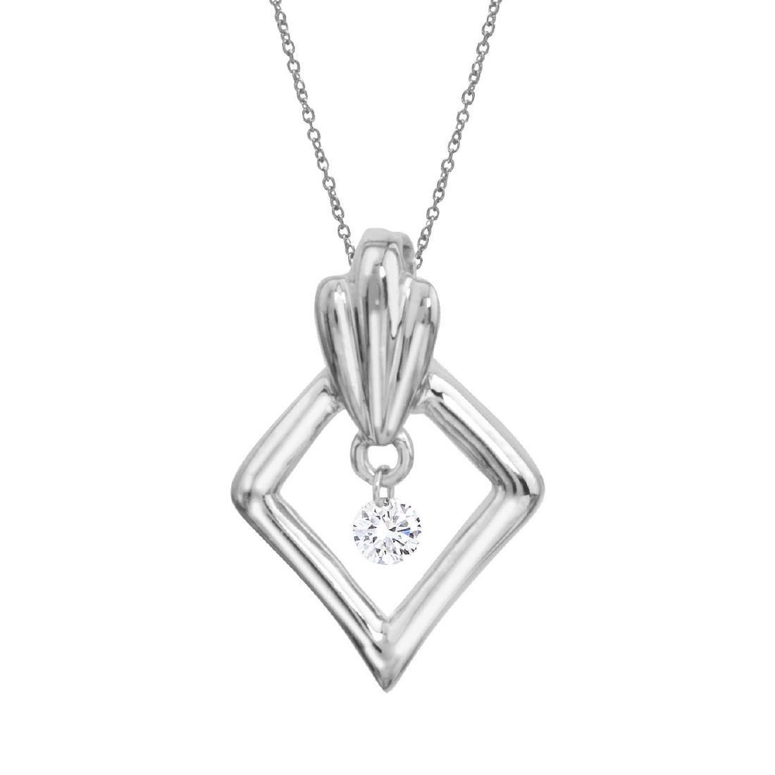 Certified 14K White Gold Dashing Diamonds Pendant 0.05