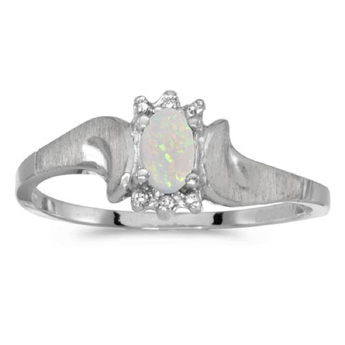 Certified 10k White Gold Oval Opal And Diamond Satin Fi
