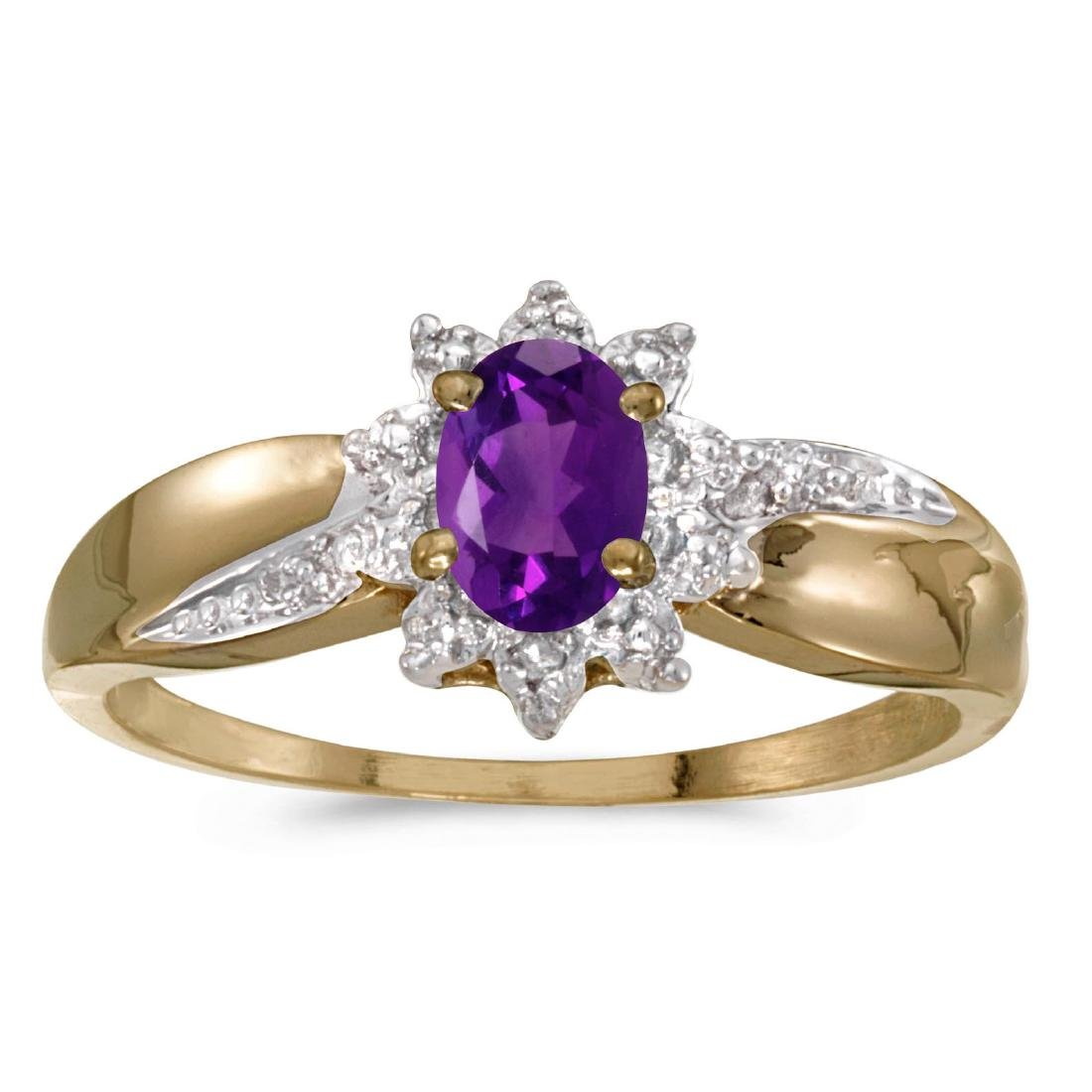 Certified 14k Yellow Gold Oval Amethyst And Diamond Rin