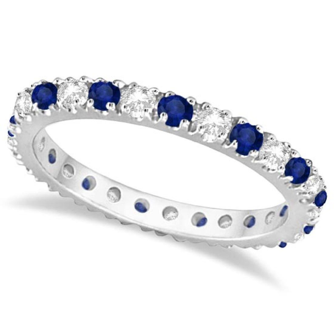 Diamond and Blue Sapphire Eternity Band Ring Guard 14K