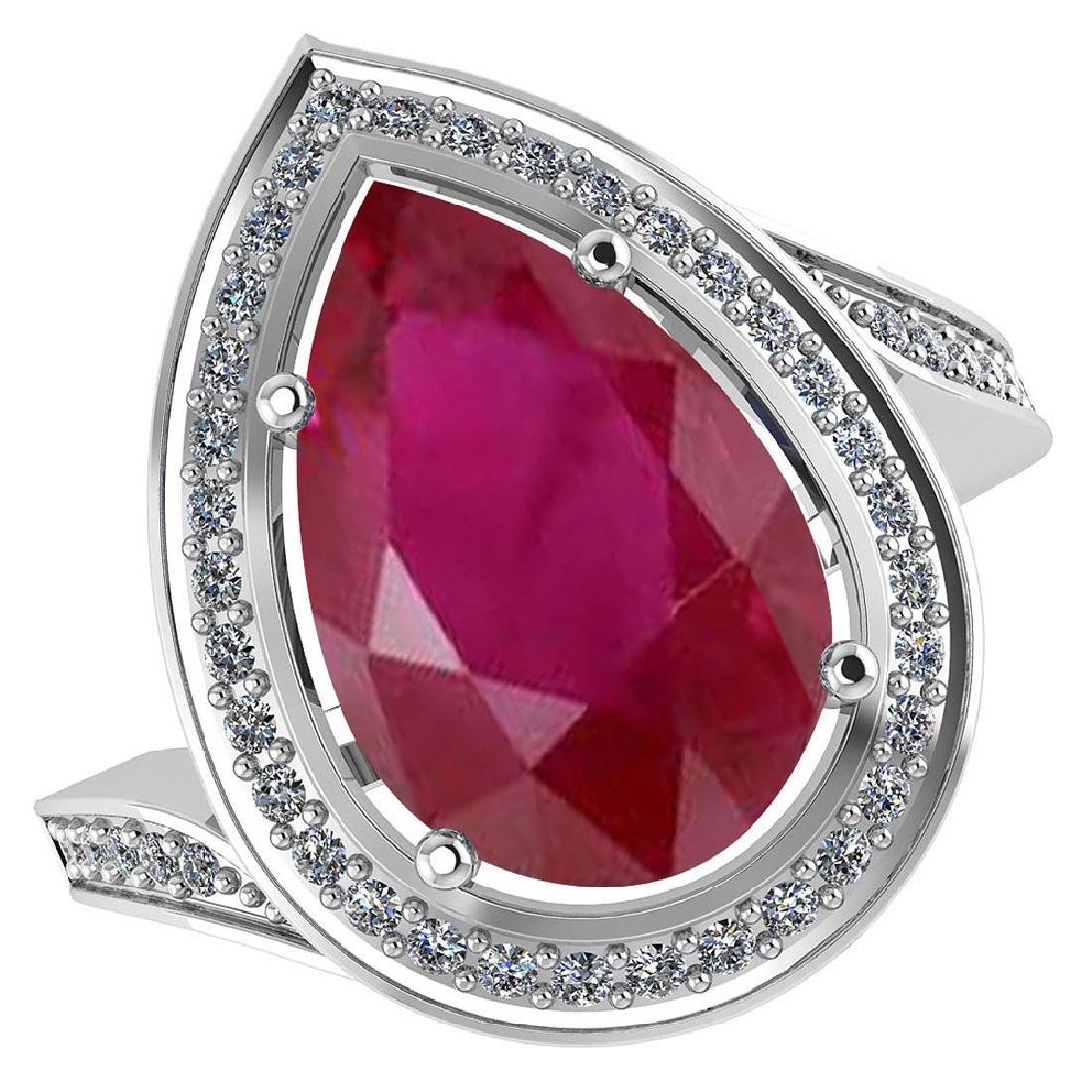 Certified 2.20 CTW Genuine Ruby And Diamond 14K White G