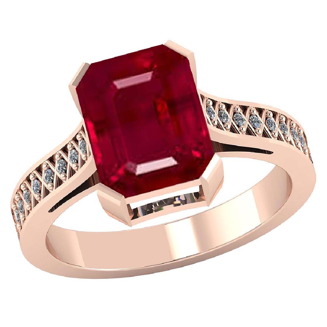 Certified 2.85 CTW Genuine Ruby And Diamond 14K Rose Go