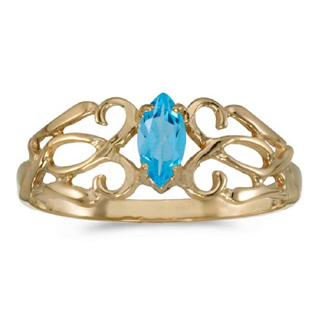 Certified 10k Yellow Gold Marquise Blue Topaz Filagree