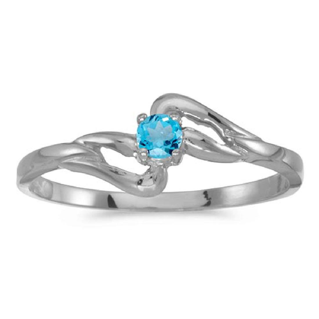 Certified 14k White Gold Round Blue Topaz Ring