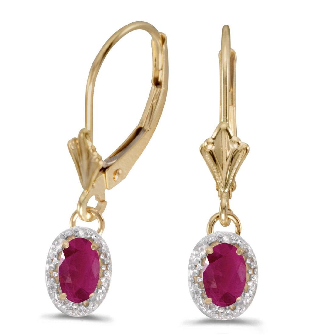 Certified 14k Yellow Gold Oval Ruby And Diamond Leverba