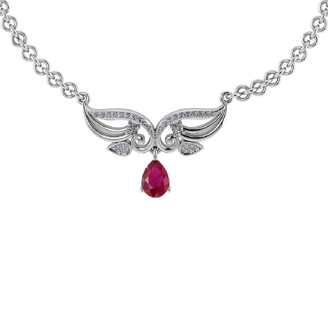 Certified 3.94 Ctw Genuine Ruby And Diamond 14k White P