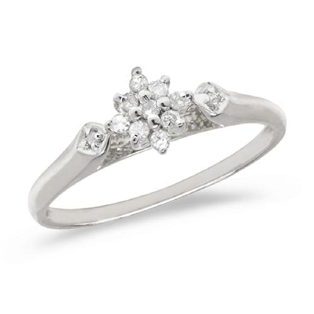 Certified 10K White Gold Diamond Cluster Ring
