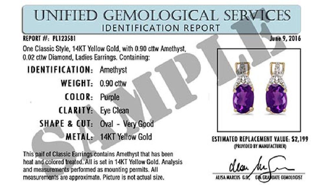 Certified 1.50 CTW Genuine Amethyst And Diamond 14K Yel - 2