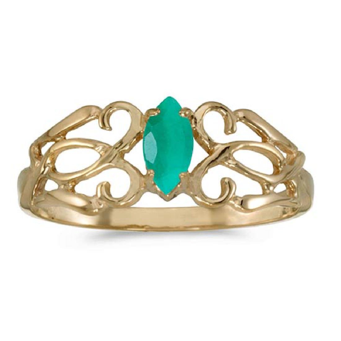 Certified 10k Yellow Gold Marquise Emerald Filagree Rin