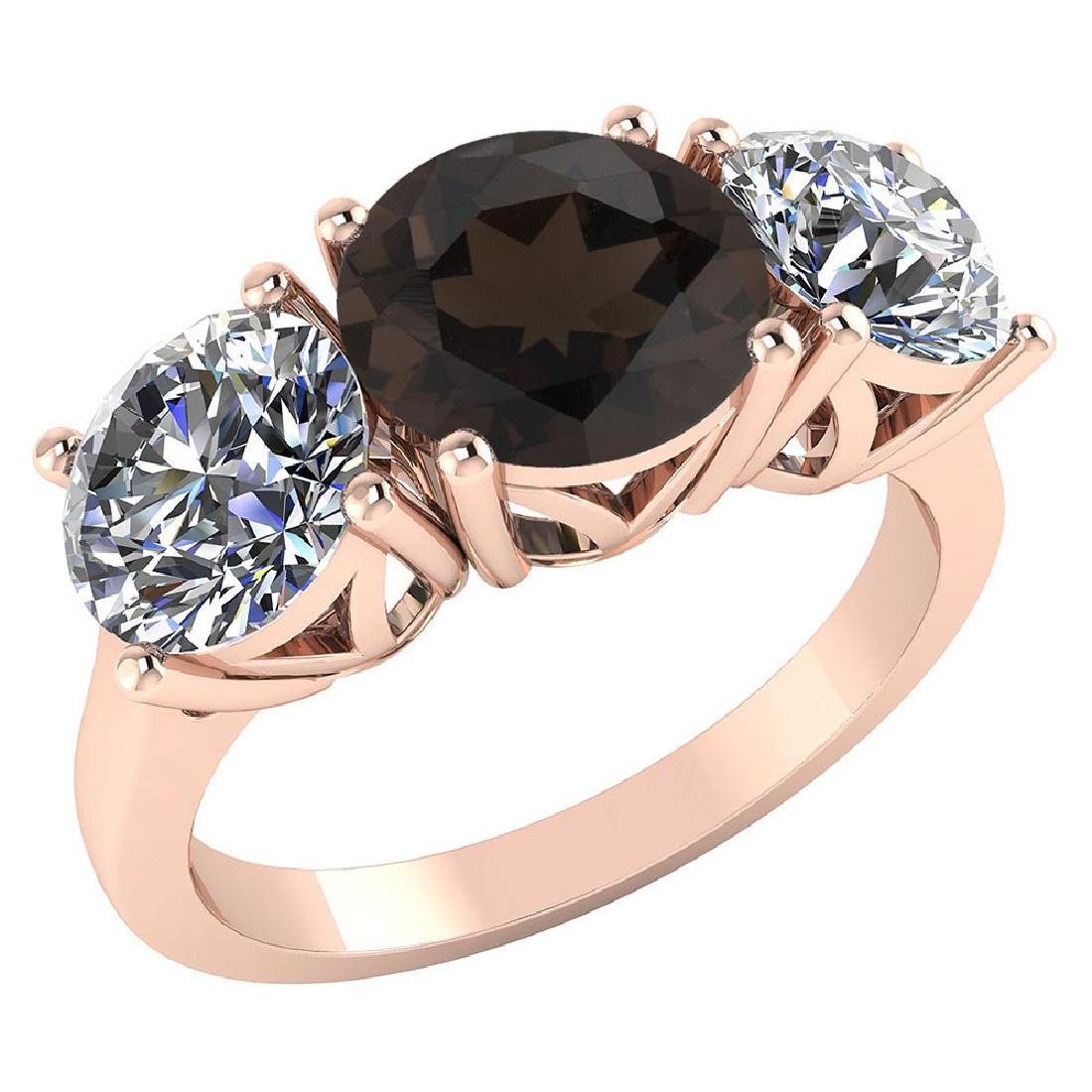 Certified 1.60 CTW Genuine Smoky And Diamond 14K Rose G