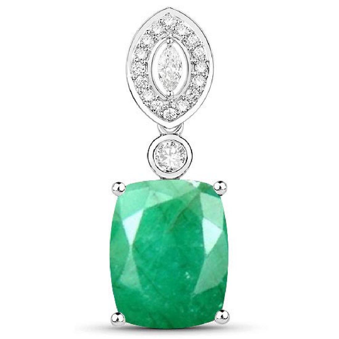 Certified 6.30 CTW Genuine Emerald And Diamond 14K Whit