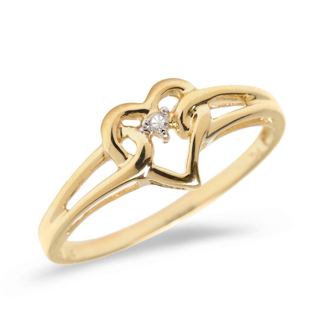 Certified 14K Yellow Gold Diamond Heart Ring 0.01 CTW
