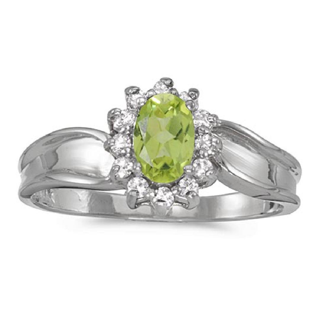 Certified 14k White Gold Oval Peridot And Diamond Ring