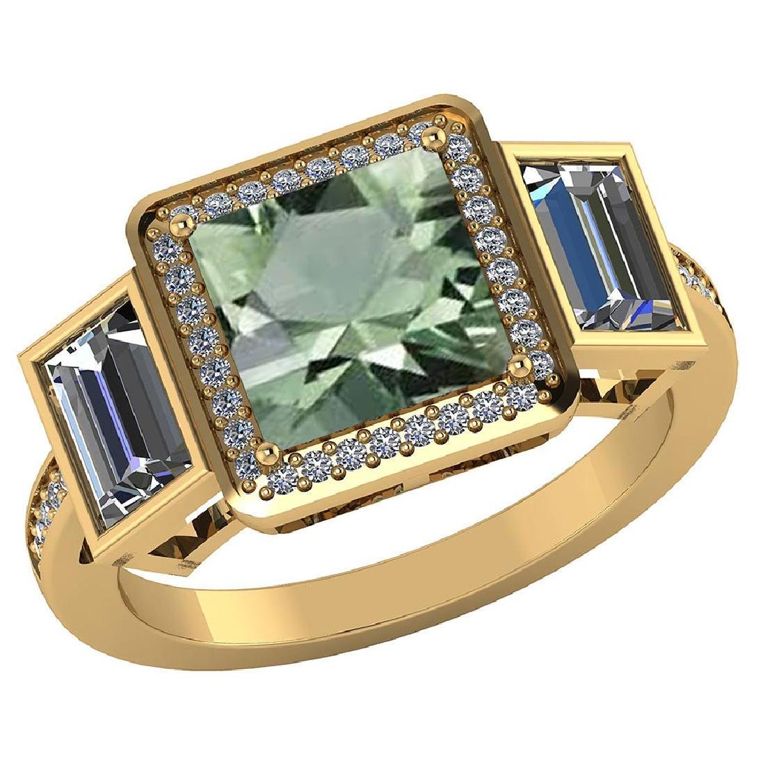 Certified 1.85 CTW Genuine Green Amethyst And Diamond 1