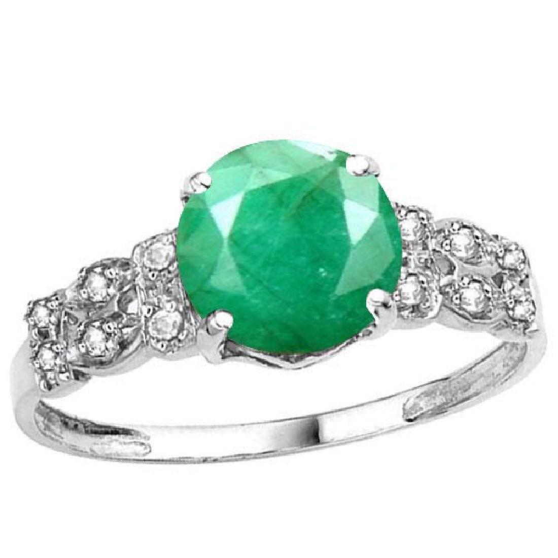 Certified 1.18 Ctw. Genuine Emerald And Diamond 14K Whi