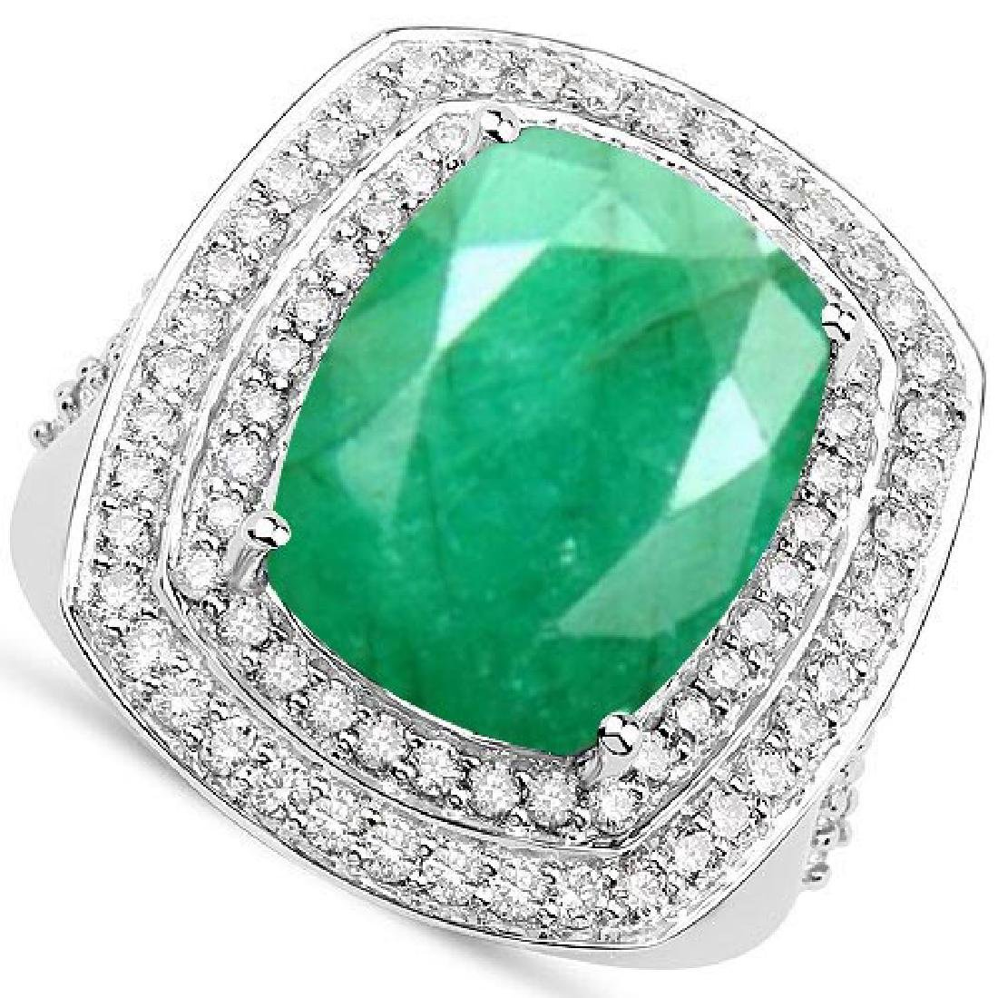 Certified 6.00 CTW Genuine Emerald And Diamond 14K Whit