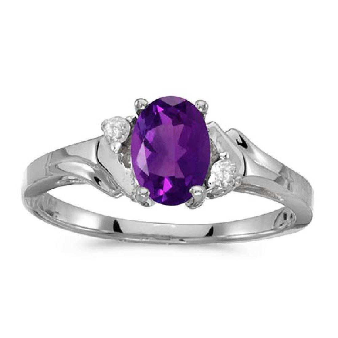 Certified 14k White Gold Oval Amethyst And Diamond Ring