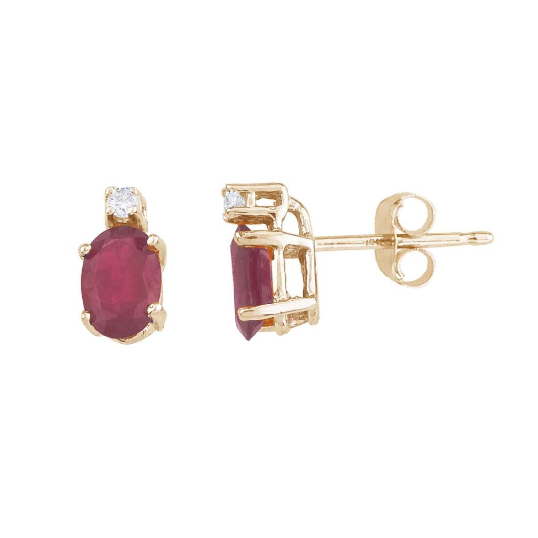 Certified 14k Yellow Gold Ruby And Diamond Earrings