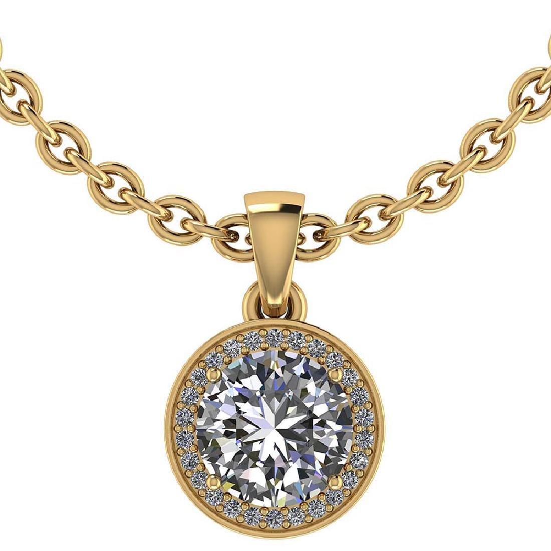Certified 1.15 CTW Round Diamond 14K Yellow Gold Pendan