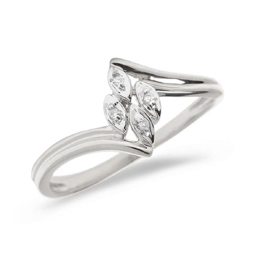 Certified 10K White Gold Diamond Leaf Ring