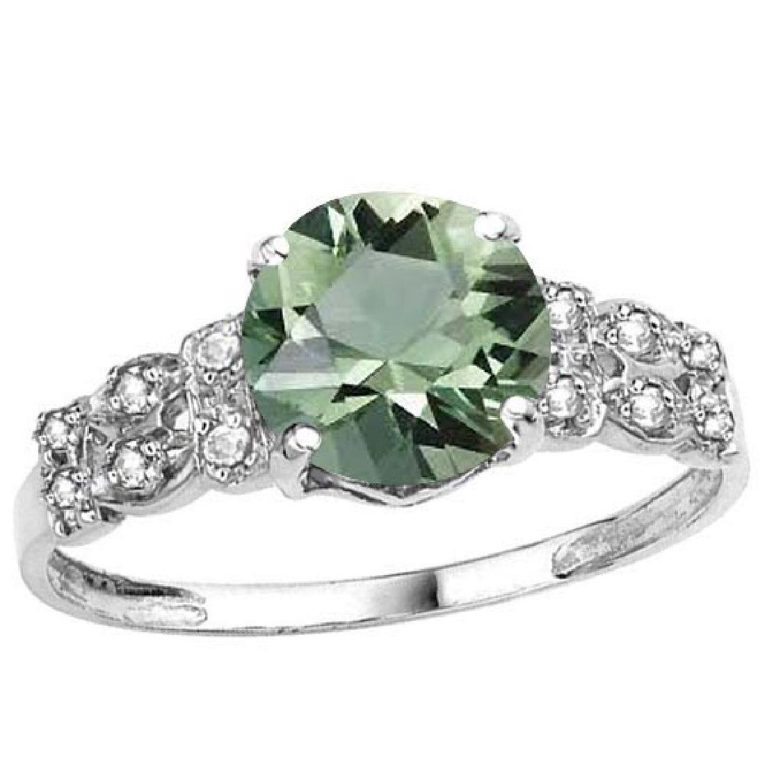 Certified 1.18 Ctw. Genuine Green Amethyst And Diamond