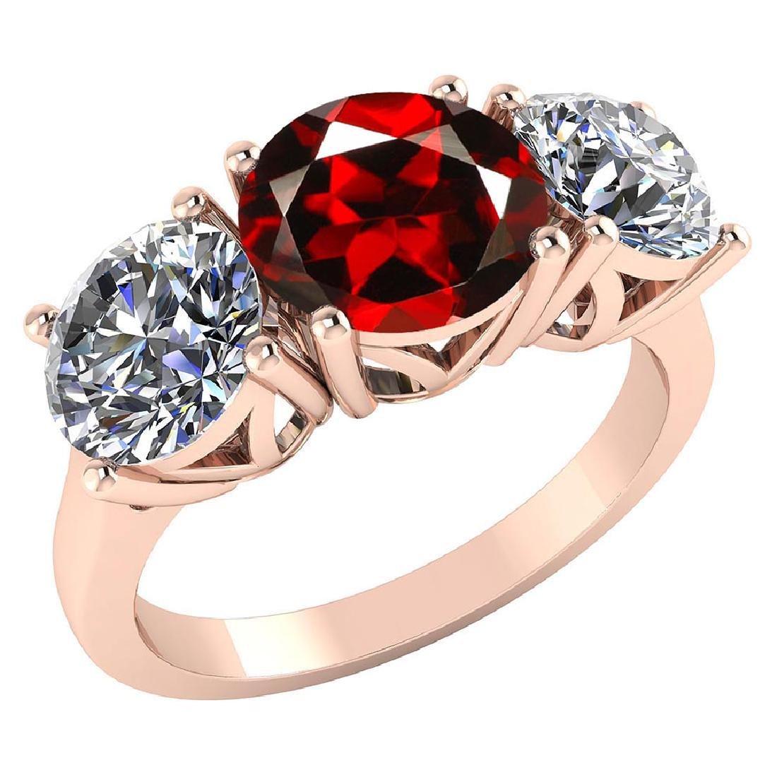 Certified 1.60 CTW Genuine Garnet And Diamond 14K Rose