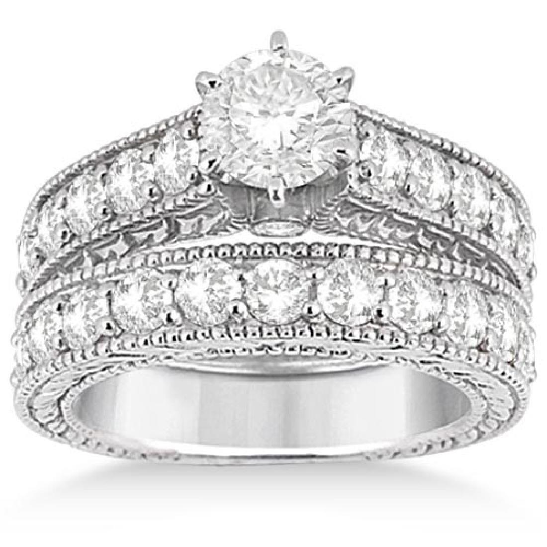 Antique Diamond Wedding and Engagement Ring Set 14k Whi
