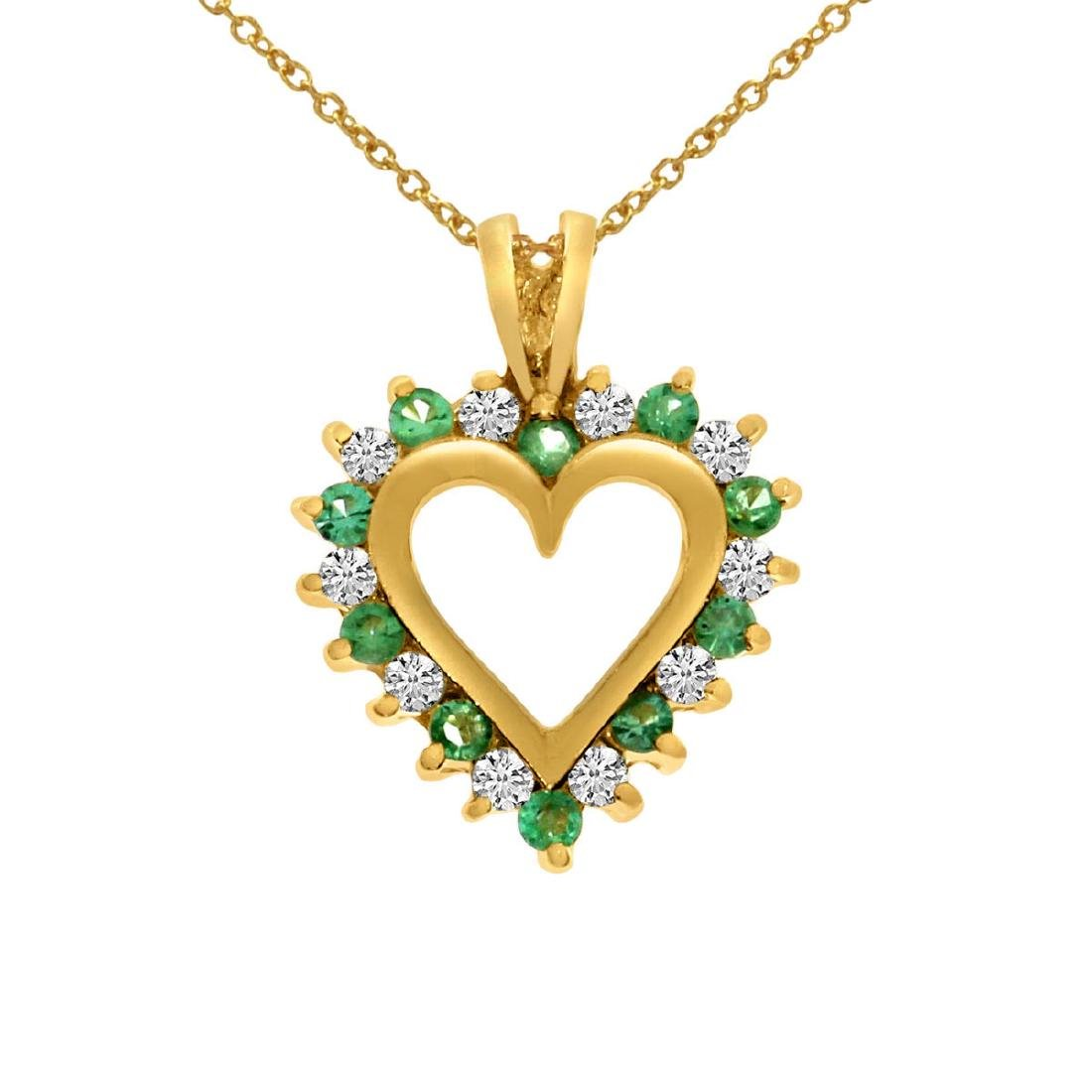 Certified 14k Yellow Gold Emerald and Diamond Heart Sha