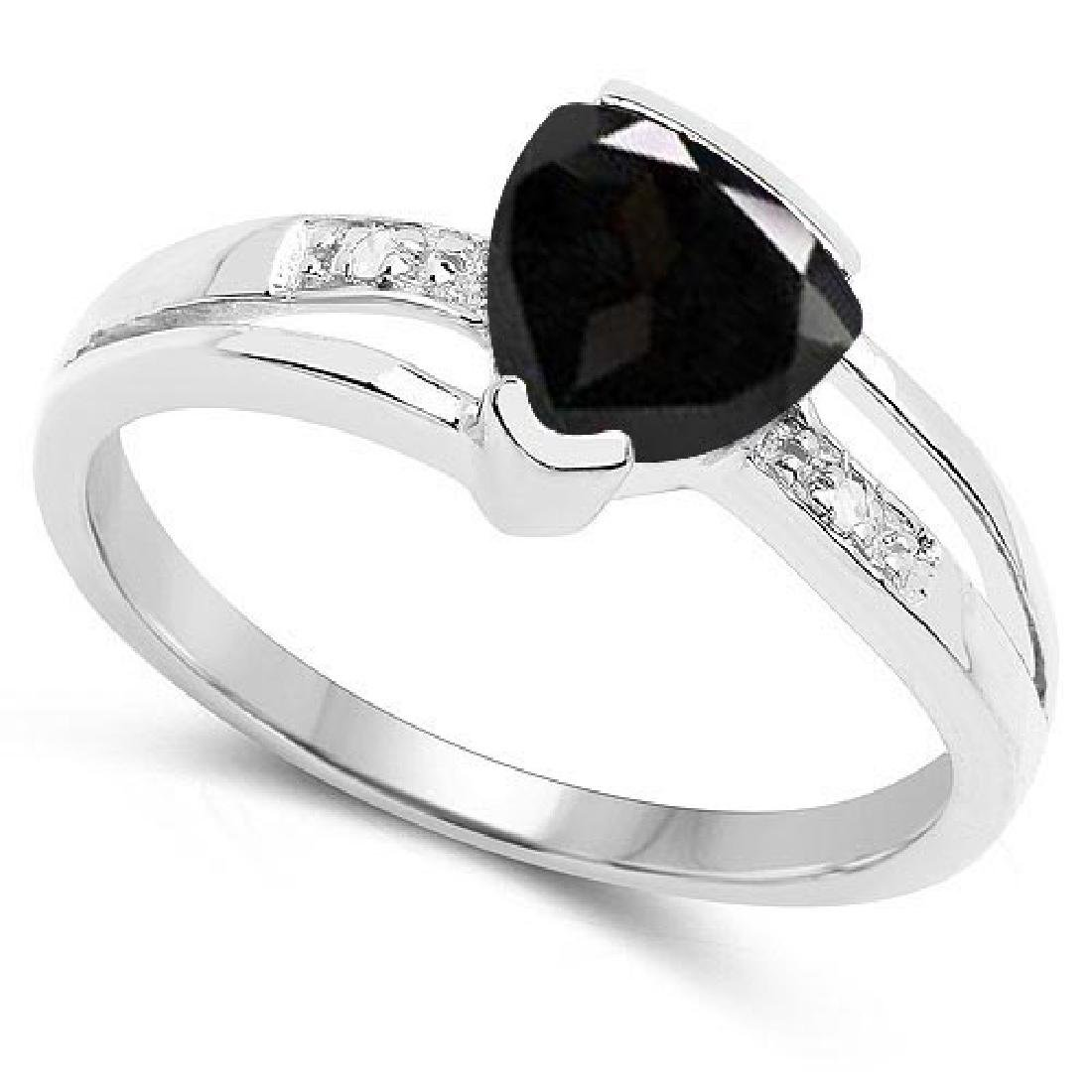 Certified 1.28 CTW Genuine Black Sapphire And Diamond 1