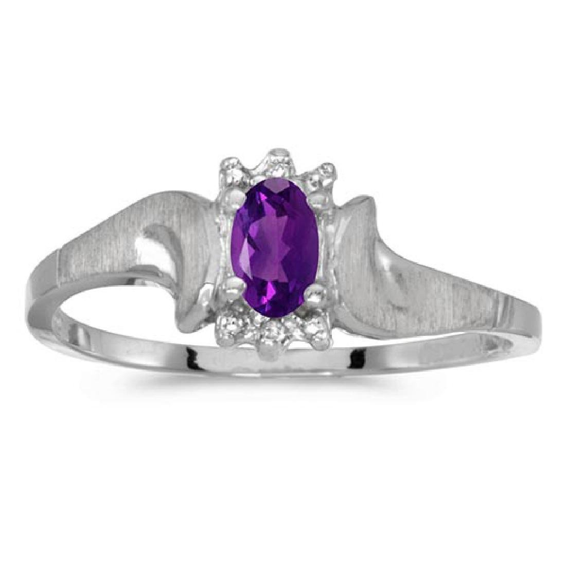 Certified 10k White Gold Oval Amethyst And Diamond Sati