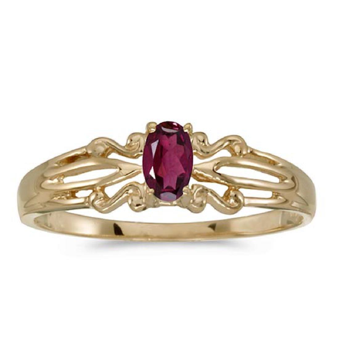 Certified 14k Yellow Gold Oval Rhodolite Garnet Ring