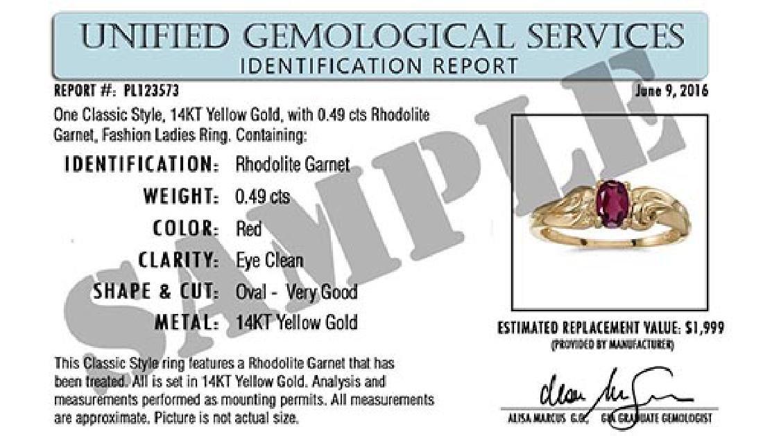 Certified 14k Yellow Gold Oval Rhodolite Garnet Ring - 2