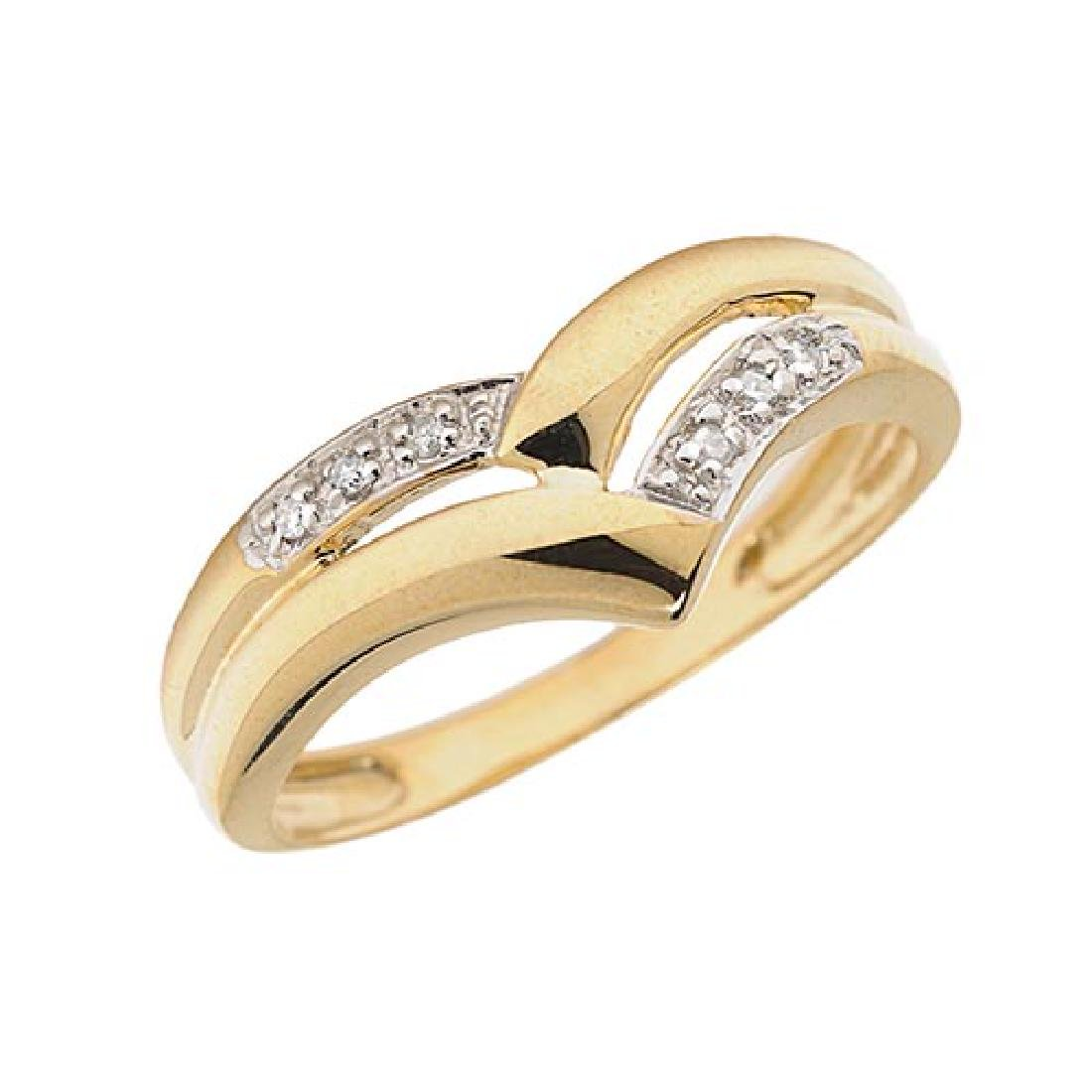 Certified 10K Yellow Gold Diamond Chevron Ring